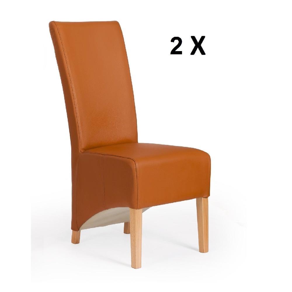 2 er stuhlset sessel hussen designer kunstleder l beck stuhl set cognac modern ebay. Black Bedroom Furniture Sets. Home Design Ideas