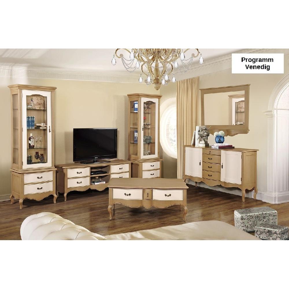 Wohnwand venedig anbauwand schrankwand designer wei beige lack fichte massiv ebay - Wohnwand beige ...