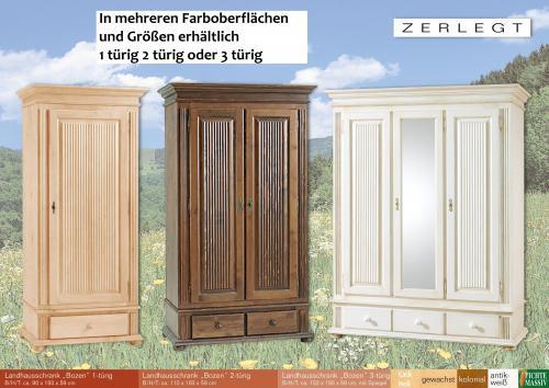 Kleiderschrank weiß landhausstil 2 türig  Kleiderschrank Dielenschrank Schrank Bozen Fichte massiv 3 türig ...