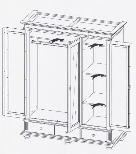 kleiderschrank dielenschrank bozen fichte massiv 3t rig. Black Bedroom Furniture Sets. Home Design Ideas
