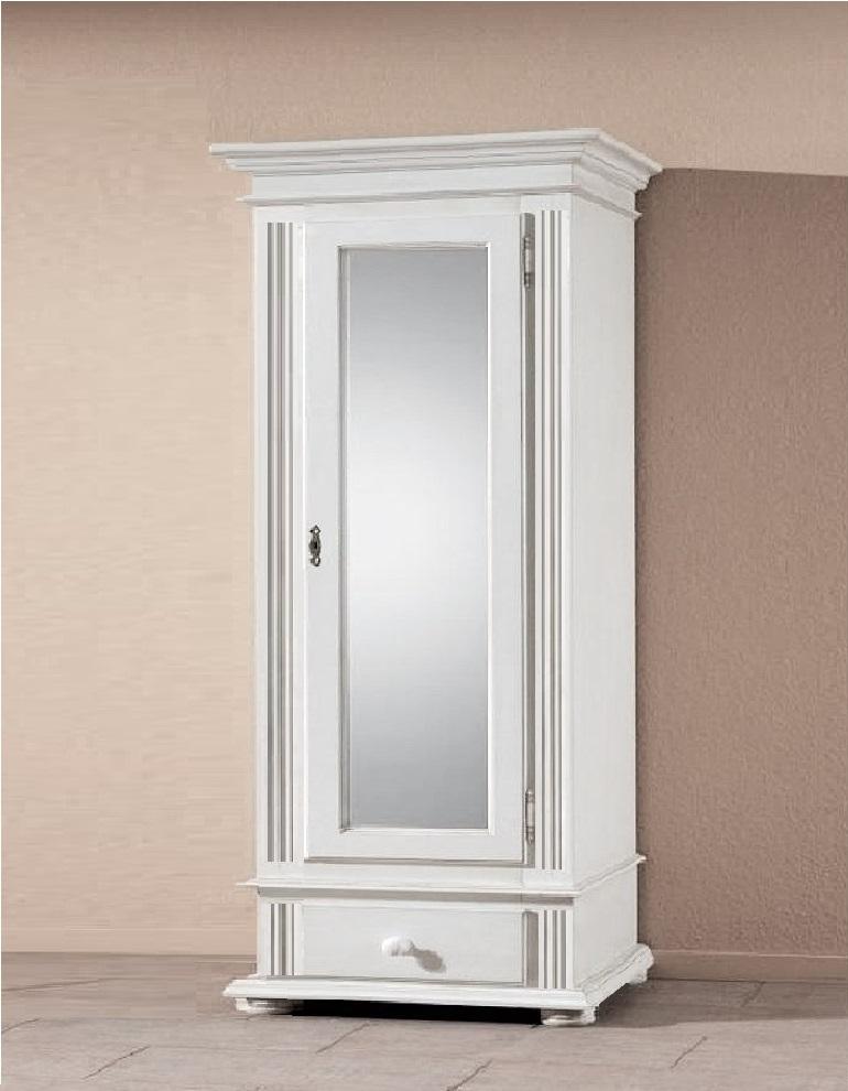 Garderoben Dielenschrank Schrank Spiegel Bozen Fichte Massiv 1 Türig Weiß Landhaus