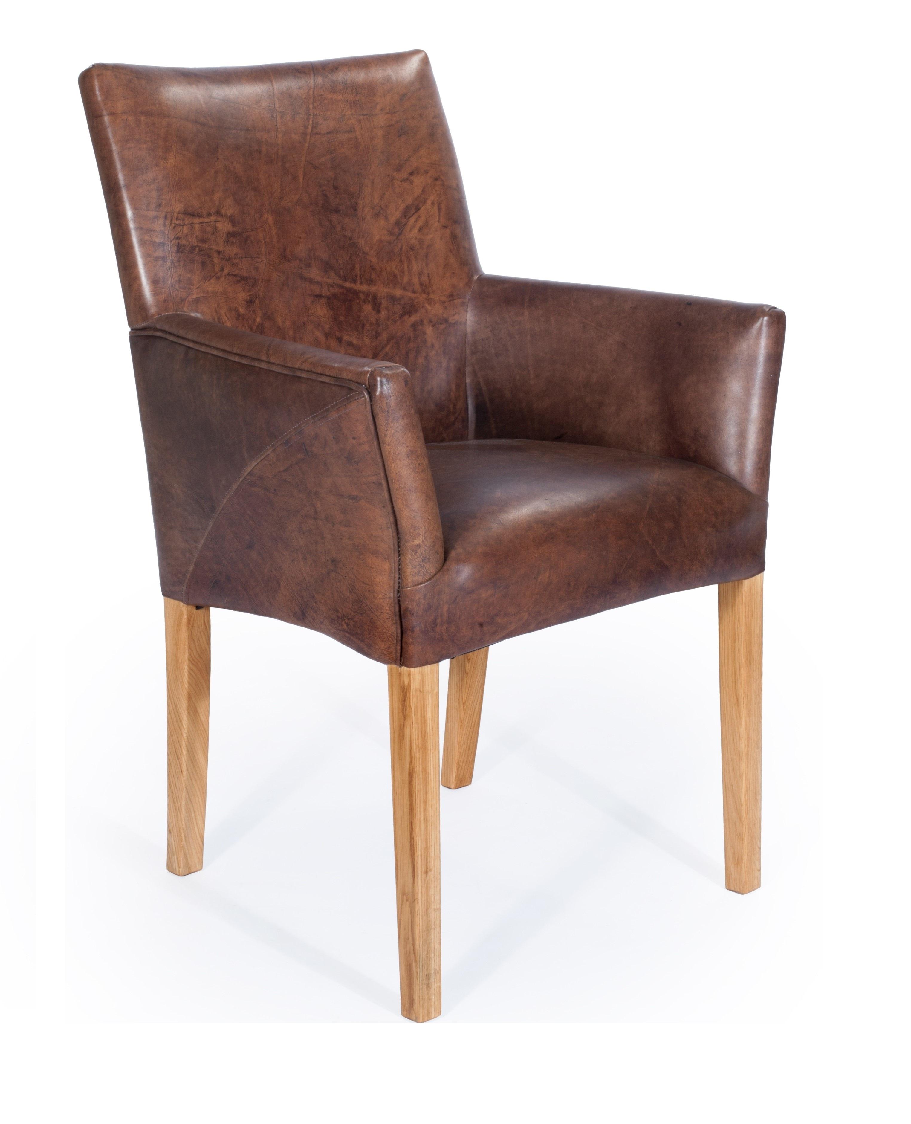 Armlehnenstuhl Sessel Designer Regensburg Echt Leder Vintage Dunkelbraun Eiche Stuhl