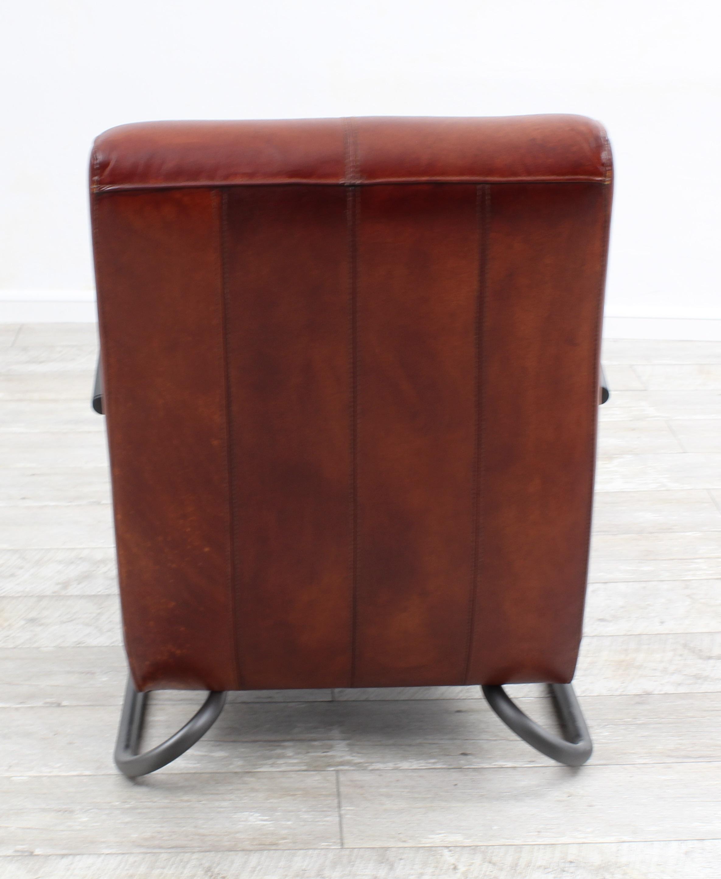 Aktiv Moebel De Sessel Stuhl Designer Munchen Nr 2 Echt Buffel Leder Vintage Farbe Dark Cognac Metall Fuss