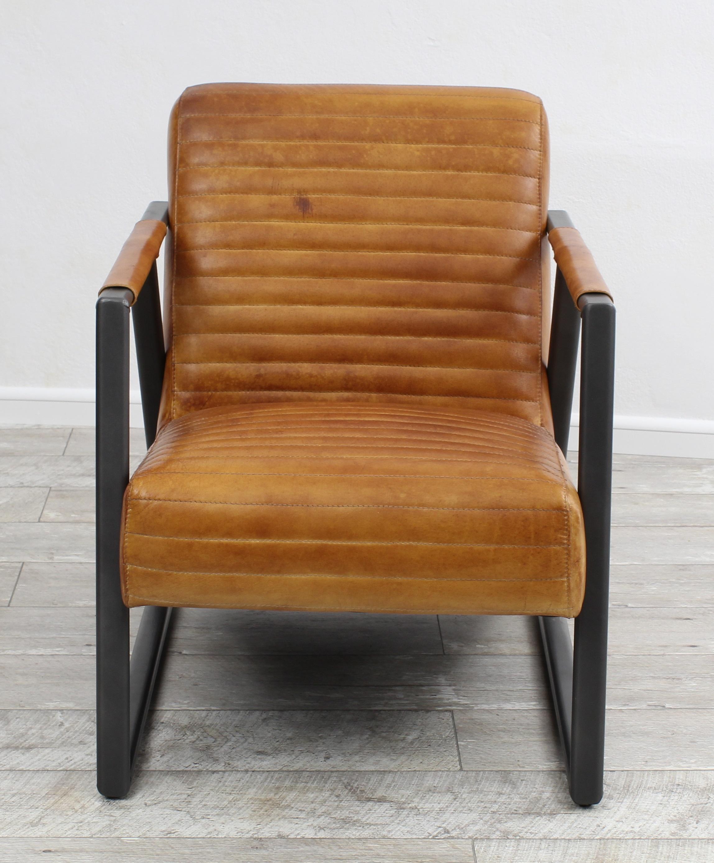 aktiv sessel stuhl designer hamburg echt b ffel leder vintage farbe camel metall fu. Black Bedroom Furniture Sets. Home Design Ideas