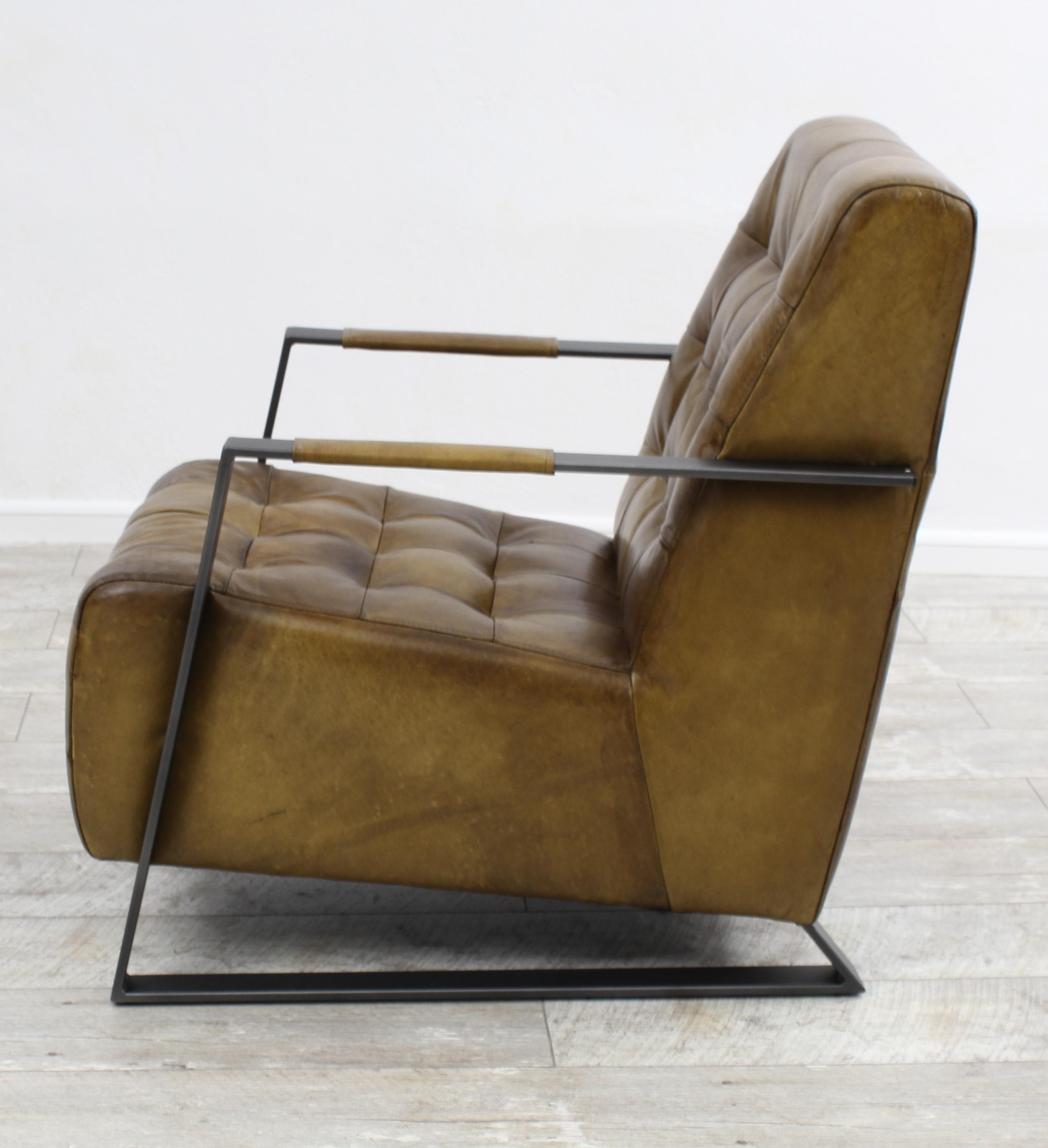 Aktiv Moebel De Sessel Stuhl Designer Hannover Echt Buffel Leder Vintage Farbe Olive Metall Fuss