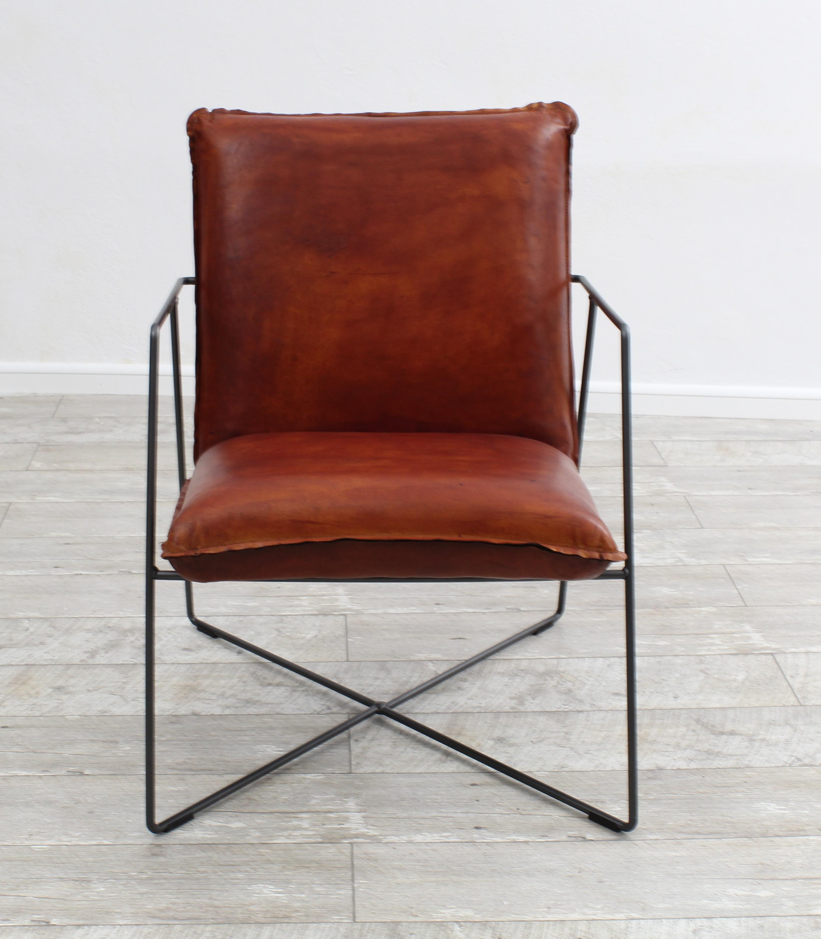 aktiv sessel stuhl designer k ln echt b ffel leder vintage farbe cogac metall fu. Black Bedroom Furniture Sets. Home Design Ideas