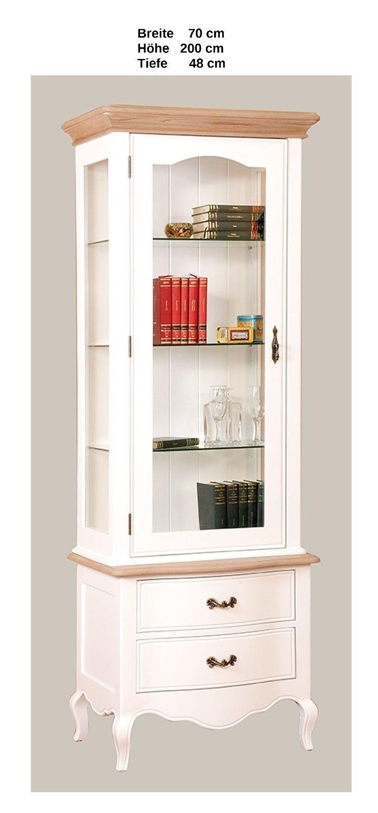aktiv vitrine paris dm 94 1 designer fichte massiv wei lack vintage landhaus. Black Bedroom Furniture Sets. Home Design Ideas