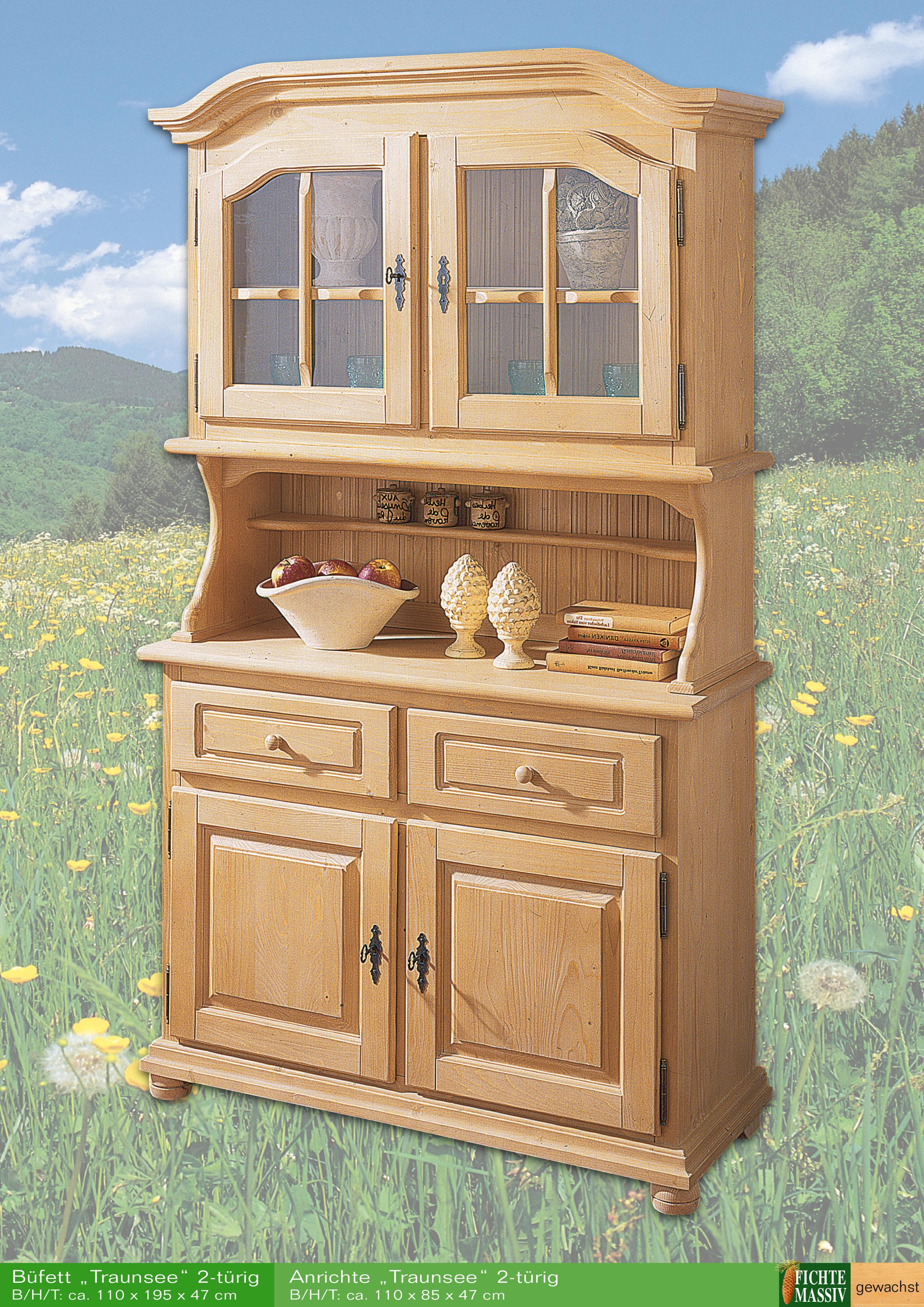 aktiv k chen schrank buffet vitrine glas traunsee fichte voll massiv gewachst landhaus. Black Bedroom Furniture Sets. Home Design Ideas