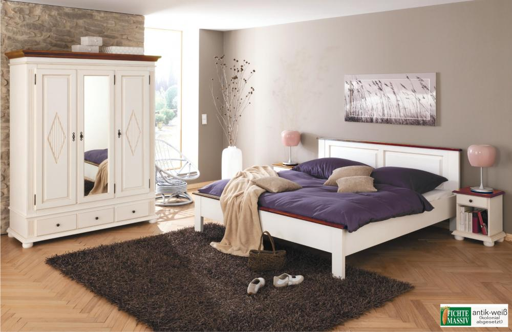 schlafzimmer set zugspitz 3 t rig landhaus fichte massiv antik wei kolonial aktiv moebel. Black Bedroom Furniture Sets. Home Design Ideas
