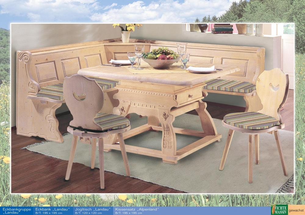 aktiv landhaus eckbankgruppe landau 195x195cm fichte massiv gewachst set. Black Bedroom Furniture Sets. Home Design Ideas