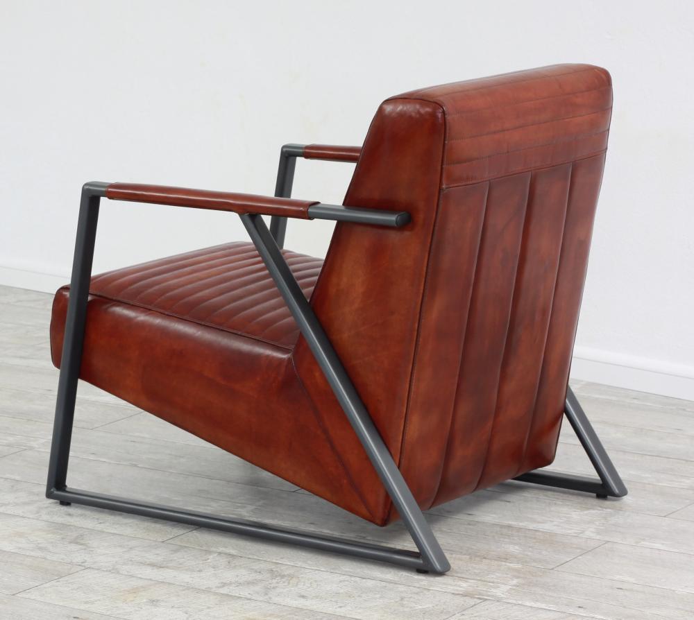 aktiv sessel stuhl designer hamburg echt leder vintage farbe dark cognac metall fu. Black Bedroom Furniture Sets. Home Design Ideas