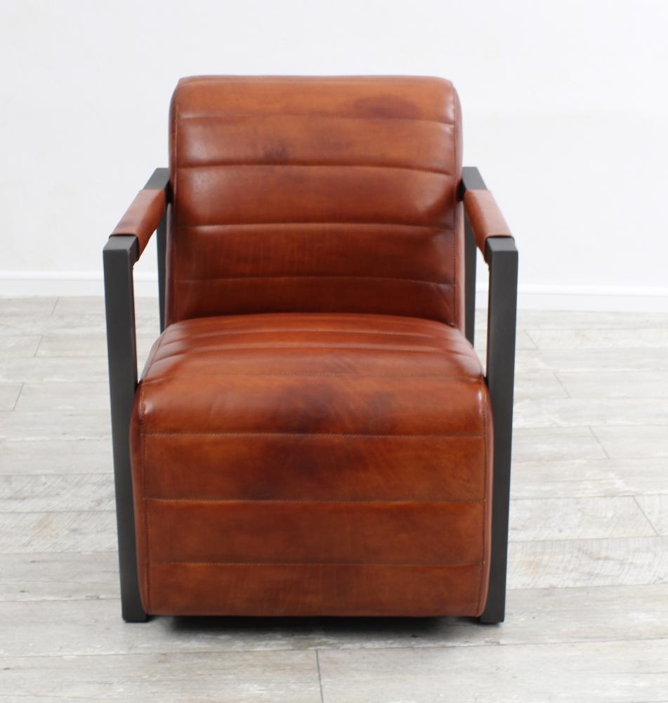 Aktiv sessel stuhl designer stuttgart echt b ffel leder vintage farbe cognac - Stuhl leder cognac ...