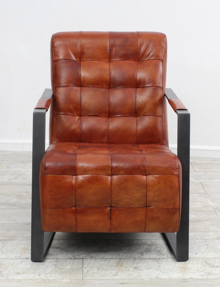 aktiv sessel stuhl designer hannover echt b ffel leder vintage farbe cognac metall fu. Black Bedroom Furniture Sets. Home Design Ideas