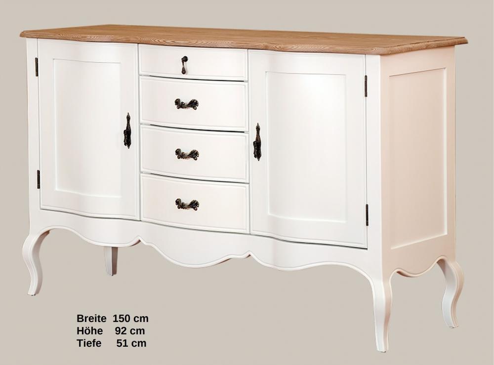 kommode sideboard fichte massiv parisdm92 1 vintage designer landhaus wei lack aktiv moebel. Black Bedroom Furniture Sets. Home Design Ideas
