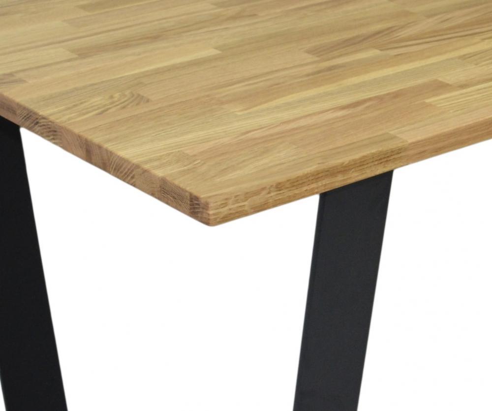 esstisch hannover eiche massiv 180x100 cm metall kufen fu. Black Bedroom Furniture Sets. Home Design Ideas